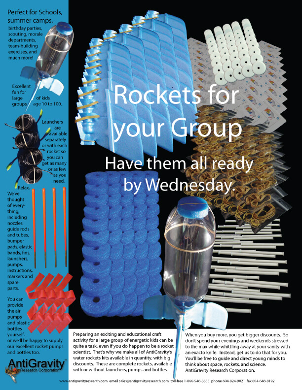 Group Rockets - Water Rockets From AntiGravity Research Corporation