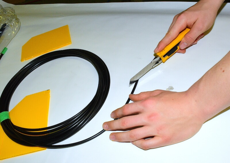 sharpening the end of the tubing